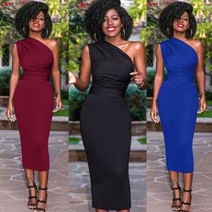 Kadınlar bayanlar yaz moda casual dress tek omuz slash boyun katı skinny yüksek bel orta buzağı dress 3 stil