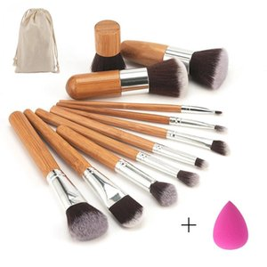 11 pcs / set Bambo Handle Makeup Brusches Set Kit Eyeshadow Breaker Blush Foundation Brech With Mزج Cosmetic Sponges Puff