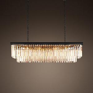 2019 nuevo Moderno Rectangular Lustre Crystal Chandelier Light Semiflush Mount Crystal Chandeliers Accesorios de Iluminación Para la Sala de estar