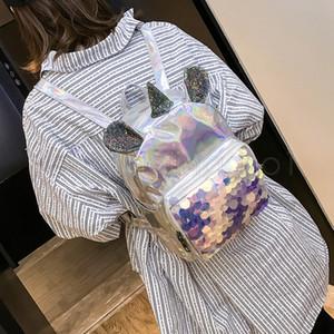Designer-Rucksack Pailletten Glitter Mini Frauen Mädchen wie Pailletten Einhorn holographische kleine beiläufige Silber Sudent Kinder Schultasche FFA1998