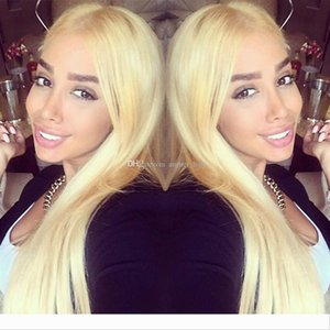 Peruvian Blonde Full Lace Wigs for Black Women Medium Cap Human Hair Lace Wigs Transparent Lace #613 Hair Wigs with Combs