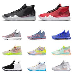 2019 الجديدة KD 10 12 أحذية كرة السلة للرجال أسود أبيض FINALS UNIVERSITY RED EYBL 90S KID متعدد الألوان ALL المدربين الرياضة رياضة Size7-12