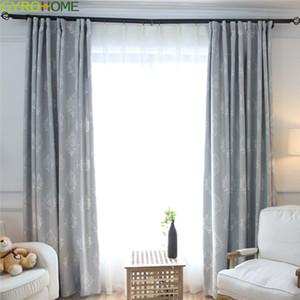 Cortina de tela azul damasco para sala de estar Jacquard Blackout Luxury Bedroom Custom Drapes