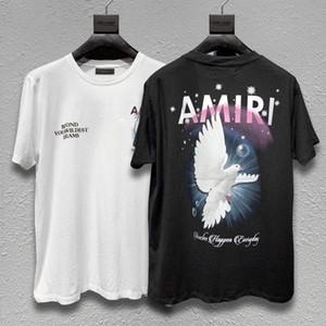 Dilenci casual baskı 2020 tasarımcı cadde Avrupa ve Amerikan sokak gelgit AMIRI kısa kollu tişört AMIRI barış güvercini damga
