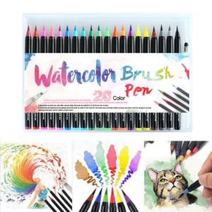 20pcs / 24pcs / 48pcs Cores Arte marcador escova da aguarela Pens para Escola de material de pintura de papelaria Manga caligrafia Família