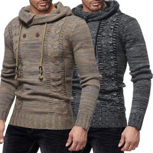 Il nuovo modo Knit Hoodies degli uomini Miscela del cotone Knited Felpa con cappuccio con coulisse foderato in pile Sportwear Hood primavera vestiti di autunno