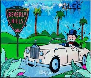 Virginie. Haute qualité Alec Monopoly HD Imprimer decores Résumé Graffiti Art Peinture à l'huile Beverly Hills Sur Toile Wall Art Home Office décembre G105
