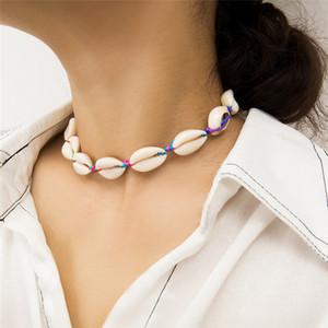 Bohemian Natural Cowrie Colar Gargantilha Shell Declaração Collar ajustável corda colorida Cadeia colar de jóias mulheres