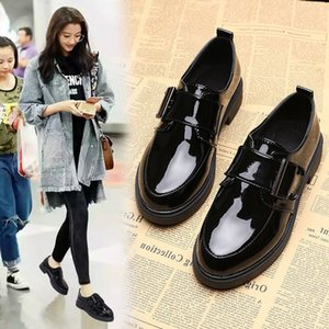 Spring Women Casual Shoes Loafers Patent Leather Low Heels Pumps Hook Loop Footwear Female Thick Heel Shoes Women Fashion New Y200702