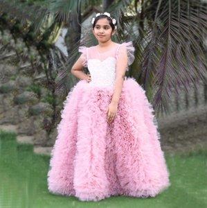 2021 Muhteşem mücevher Boyun İnciler Çiçek Kız Elbise Kısa Kollu fırfır Etek Tül Doğum Elbiseler Kız Yarışması Önlük Çocuk Giyim