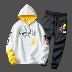 спортивного костюм мужчин моды печати толстовка Sweatpants teengers спортивных костюмы студента случайного наряда Стиль sweatsuits набор осень бег мужчины