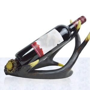 Creative artificiali Antlers Vini Rack Wedding Decoration resina Wine Bottle Holder stile vintage è sinonimo di regalo unico 30yh ZZ