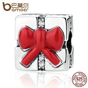Pandora Style 925 Sterling Silber Kleine Charm Red Bow Knot Weihnachtsgeschenk Charms passen Frauen Armbänder Halsketten DIY Zubehör