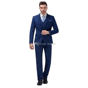 High Quality Groomsmen Peak Lapel Groom Tuxedos Blue Men Suits Wedding Prom Best Man Blazer Bridegroom(Jacket+Pants+Vest+Tie)M698