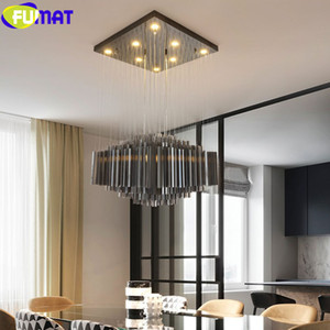 FUMAT Black Crystal K9 Pipe Stainless Steel Plate Ceiling Lamp LED Modern Style Square Lights Hanging Light Fixture Hanglamp