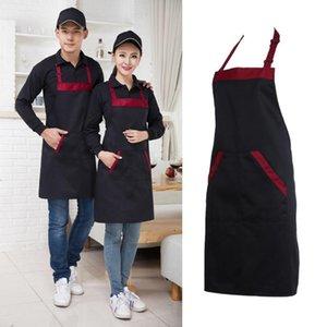 La moitié de cuisine Tablier de cuisine Chef de traiteur Halterneck Bib avec 2 poches manches Tabliers Femme Homme Noir Rouge