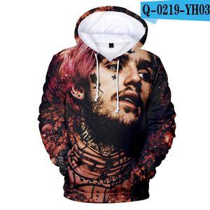 Homens Hoodies Hip Hop New Fashion Street americano lil Casual pio Hoodies Homens 3D Velo moletom com capuz de