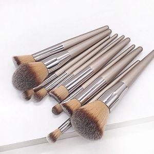 드롭 여성 패션 브러쉬 10pcs 나무 재단 화장품 눈썹 아이 섀도우 브러쉬 메이크업 브러쉬 세트 도구 Pincel Maquiagem 품질
