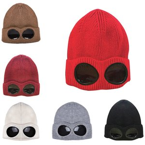 Winter Knitted Cycling Hat Warm Beanies Ski Cap with Removable Glasses for Women Men Outdoor Sports Cap
