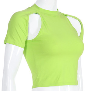 2020 Spring Summer Sex Mulheres nova Sólidos T-shirt verde T-shirt de manga curta O-Neck Casual Top camisetas