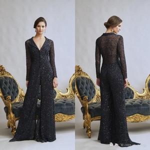 Elegent Schwarz Mutter der Braut Jumpsuits Long Sleeve Wedding Guest Kleid mit V-Ausschnitt bodenlangen Satin Abendkleider