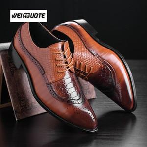 WEINUOTE Hombres Moda Clásico Bullock Brillante Zapatos de Negocios de Boda Zapatos de punta estrecha de cuero Casual Vestido Formal Tallas grandes