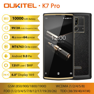 Visage ID OUKITEL Pro 4 Go 64 Go K7 4G LTE 64 bits Octa base MTK6763 Android 9.0 + 13MP 2MP 2 empreintes digitales GPS Caméra 10000mAh Power Bank Smartphone