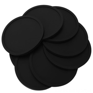 HHO-Silicone Black Drink Coasters Set of 8 Non-slip Round Soft Sleek and Durable Easy Table Decoration & Accessories Kitchen, Dining & Bar t