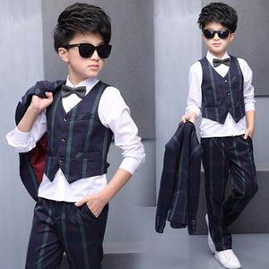 Boy's Suits & Blazers Children's Clothing Boy's suit+pant+vest+shirt+bow tie five pieces sets 115-155cm striped wholesale hot
