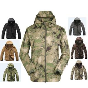 2019 사냥 의류 야외 상어 피부 Softshell 전술 Millitary 위장 재킷 정장 남성 방수 자켓 또는 바지 T190919