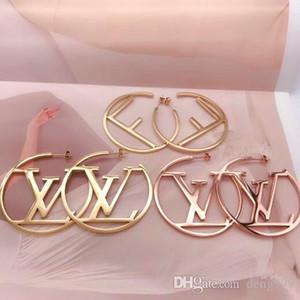 مجوهرات كبيرة الحجم وصول جديدة أعلى جودة تصميم الأزياء الأذن ترصيع الهيب هوب التيتانيوم الصلب أقراط ذهبية فضية روز هوب للنساء بالجملة