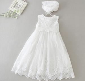 Estilo largo vestido de boda de los niños recién nacido de alta calidad 0-2yrs 2 unids / set vestido de bautizo de la muchacha vestido de bautizo del bebé partido de las niñas princesa infantil