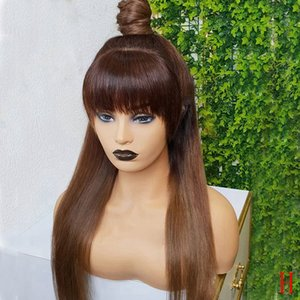 Brazilian Straight 360 Lace Frontal Human Hair Ombre Brown Lace Front Wigs With Bangs Full Lace Fringe Wig Pre plucked Remy