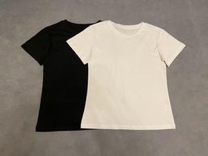 20SS Мужские футболки Высокое качество хлопка лета тройник Blank футболку шеи экипажа улицы черный белый