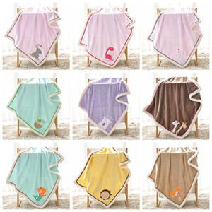 Wholesale Embroidery Cute Animal 75x100cm Baby Blankets Flannel Outdoor Travel Home Air Conditioning 9 Colors Blanket DH0742 T03