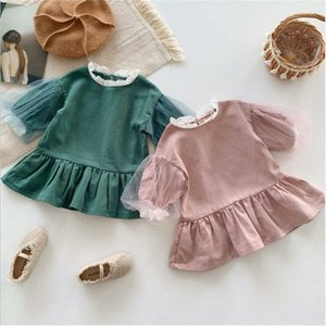 Baby Girls Clothes Kids Lace Ruffle Dresses Chidren Lovely Puff Sleeve Princess Dress Boutique Dresses Party Dance Clothing AYP322