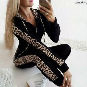 Retro Fashion Casual 2Pcs Women Leopard Long Seleeve Hoodies Sports Tops Pants Tracksuit Sweatshirt Sweat Suit Jogging hot Y200701