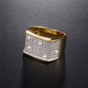 Men's Luxury Hip Hop Ring jewelry 925 Sterling Silver bling Diamond painting full 18K gold rings for boys Party gift