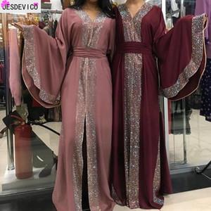 Femmes Cardigan Kimono Kaftan Diamant Diamond Robe Dubai Islam Robe musulmane Abayas Caftan Qatar Turquie Vêtements