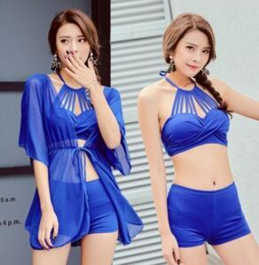 Maillot de bain de bikini de plage Séparez le maillot de bain trois pièces à angle plat avec support en acier