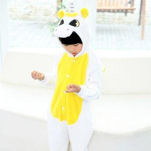 EOICIOI flanela Animais Unicórnio Crianças Meninos Meninas Pijamas capuz Crianças Pijamas dos desenhos animados Cosplay bebê Pijamas Infantil Onesies