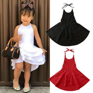 2020 nouvelle conception gâteau couche robe Tuxedo Kid bébé filles princesse robe de soirée de demoiselle d'honneur de mariage Halter été 1-6T
