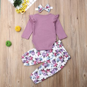 Yenidoğan Bebek Kız Pamuk Romper + Çiçek Pantolon 3PCS Kıyafetler Seti Giyim Tops