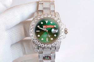 New atualizado Diamante do aço do relógio de prata inoxidável diamante caixa do relógio de diamantes completa Strap Assista Men 2813 Automática Relógios Mecânicos