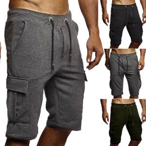 Pantalones cortos de carga para hombre Pantalones Casual Verano Playa Deporte Gimnasio Liso elástico