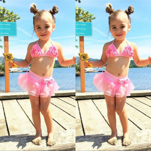 Çocuklar Kız Yaz Çiçek Mayo Çocuk Bikini Sevimli Halter Tops Ve Mesh Çiçek Etek Çocuk swimmable mayo ayarlar