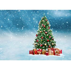 Cadeaux d'arbre de Noël Neige Photographie Fond Fond Vinyle Tissu Photo Studio pour Enfants Bébé Famille Photocall Photophone