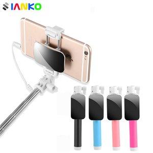 Mini prorrogável com fio selfie vara cabo com espelho autodyne artefato para iphone oppo huawei samsung smartphone