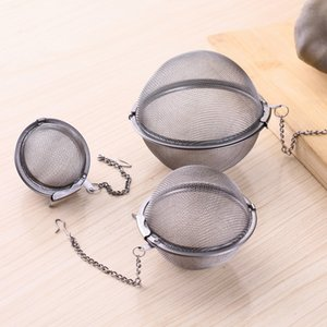 Hot S M L Stainless Steel Mesh Tea Balls 5cm Tea Infuser Strainers Filters Interval Diffuser For Tea Kitchen Dining Bar Tools