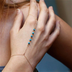 Fashion Turquoise Bead Slave Chain Hand Harness Bracelet Gold Silver Finger Ring Boho Summer Simple Jewelry Gifts for Women